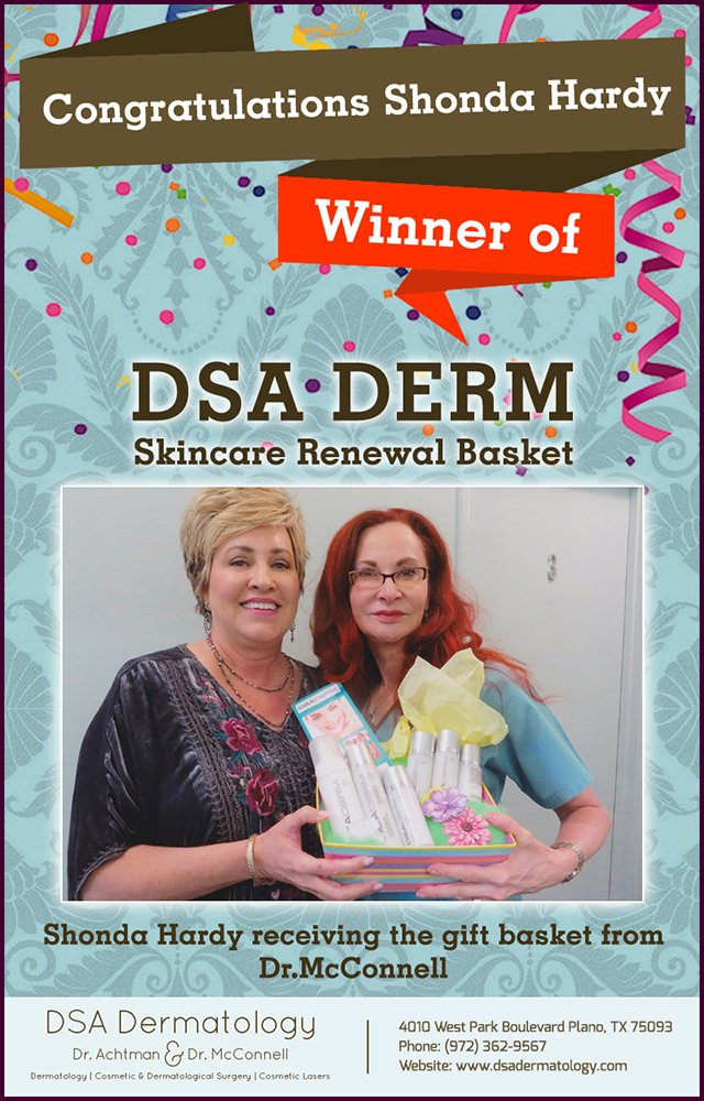 Skincare Renewal Basket Winner Recieving Gift from Dr. McConnell