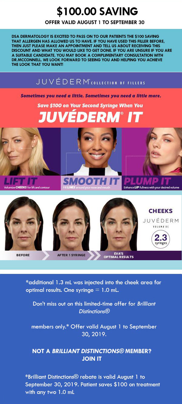 $100 Saving Juvederm Offers with DSADERM, Plano